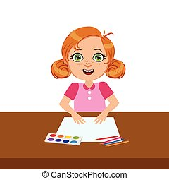 Girl With Paper, Paint And Brush, Elementary School Art Class Vector Illustration