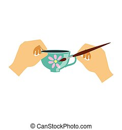 Two Hands Painting a Teacup, Elementary School Art Class Vector Illustration