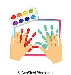 Two Hands Painting With Finger Paint, Elementary School Art Class Vector Illustration