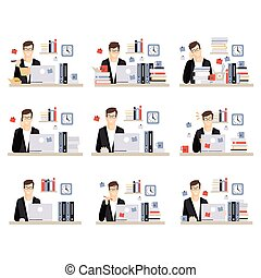 Male Office Worker Daily Work Scenes With Different Emotions, Set Of Illustrations Of Busy Day At The Office