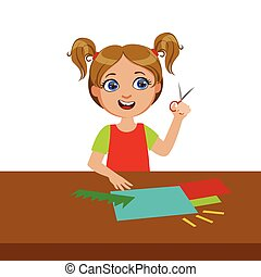 Girl Cutting Grass Shape For Applique, Elementary School Art Class Vector Illustration