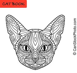 Coloring cat book for adults. Amazing cat's head with tribal...