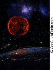 Dying Sun over the dark planet Earth