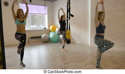 Beautiful young girls involved in fitness in the gym. Make a...