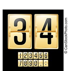 Mechanical Scoreboard Vector. Gold Yellow Timetable With Black Numbers. Analog Clock Panel. Countdown Timer.