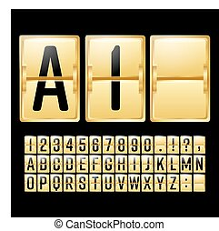 Mechanical Scoreboard Vector. Gold Yellow Timetable With Black Numbers And Letters. Analog Clock Panel. Countdown Timer. Alphabet. Template For Your Design.