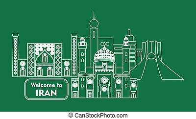 welcome to iran - set in the style of a flat design on the...