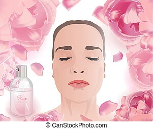 Rose Water Face Pack - Woman using rose water face pack....