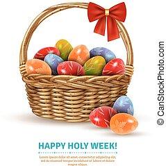 Easter Wicker Basket Realistic Image - Decorative wicker...