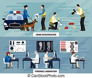 Crime Investigation Flat Banners - Crime investigation flat...