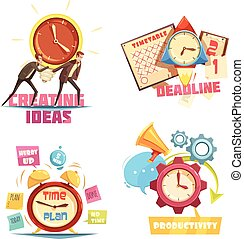 Time Management Retro Cartoon Compositions