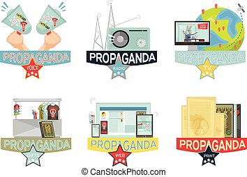 Propaganda Icons Set - Voice web mass media and gifs...