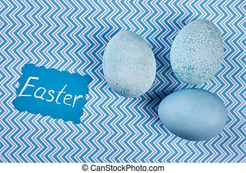 Blue dyed eggs. Easter greeting card. Topical Easter items.