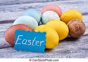 Many-colored Easter eggs. Easter handmade card. Easter...