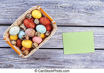 Easter basket and blank card.