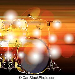 abstract grunge background with drum kit - blur music...