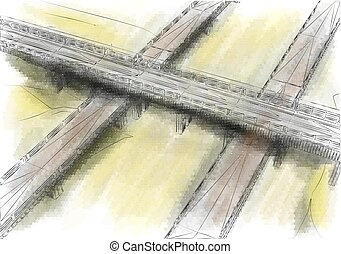 highway. three abstract road vector illustration. 10 EPS