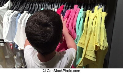 Kids shopping for clothes in a store