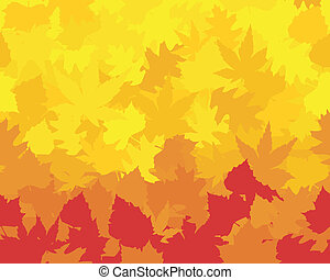 Maple, oak, chestnut and beech leaves in saturated yellows, oranges, and reds forming a colorful autumn wallpaper.