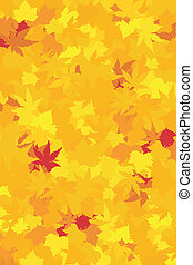 Maple and chestnut in saturated yellows, oranges, and reds forming a colorful autumn wallpaper.