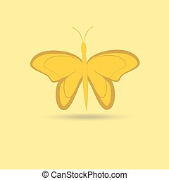 Butterfly isolated object on a yellow background