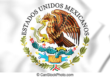 Federal Government of Mexico Seal. 3D Illustration.
