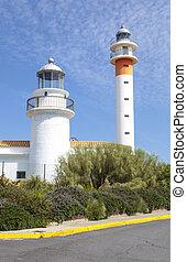 latarnie morskie,  El,  huelva, dwa,  rompido, Hiszpania