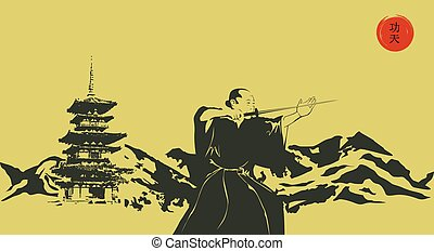 Illustration, a man with a sword and mountains..eps