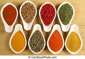 Spices - Whole variety of colorful spices. Assortment of...