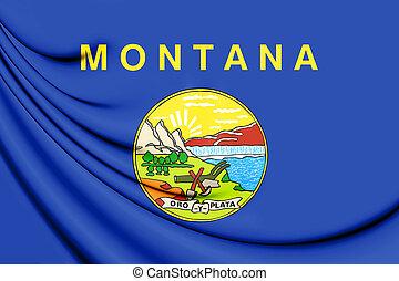 3D Flag of Montana, USA.