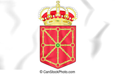 Navarra coat of arms, Spain. 3D Illustration.