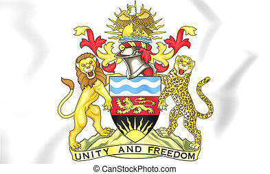 Republic of Malawi Coat of Arms. 3D Illustration.
