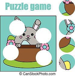 Matching children educational game. Match pieces and complete the picture. Puzzle kids activity, Easter theme
