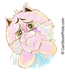 Cat acting pleading and crying pencil color - Cat so cute...