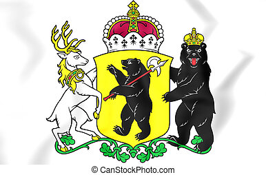 Yaroslavl Oblast coat of arms, Russia. 3D Illustration.