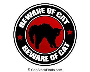Beware of Cat label