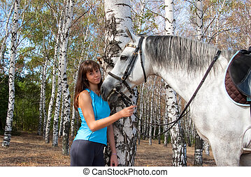 Girl on a horse - Beautiful girl with a horse on nature...