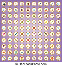 100 kids activity icons set in cartoon style