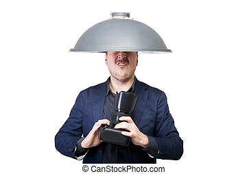 Professional photographer with lampshade on head -...