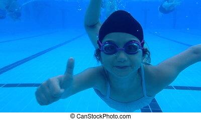 Girl doing like underwater - Shot of Girl doing like...