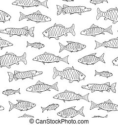 Fish seamless pattern in doodle style. Hand drawn vector...