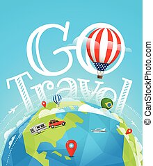 Summer travel vector illustration. Go travel concept