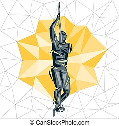 Cross Fit new man 04 - Geometric Crossfit concept. Rope...