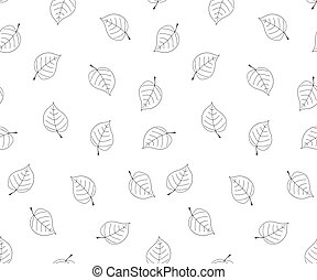 Hand drawn leaves in doodle style.Seamless vector pattern.