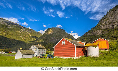 Barns in a norwegian farm village