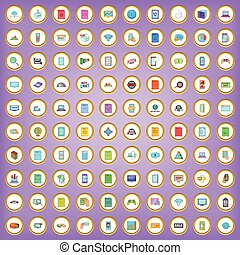 100 network icons set in cartoon style on purple background...