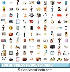 100 busness process icons set, cartoon style - 100 busness...