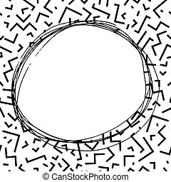 Hand drawn round frame in memphis style. Fashion 80-90s. -...