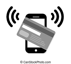 Mobile paypass vector - Mobile paypass.Credit Card Icon.NFC...