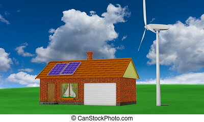 solar panels and wind generator - animation houses with...